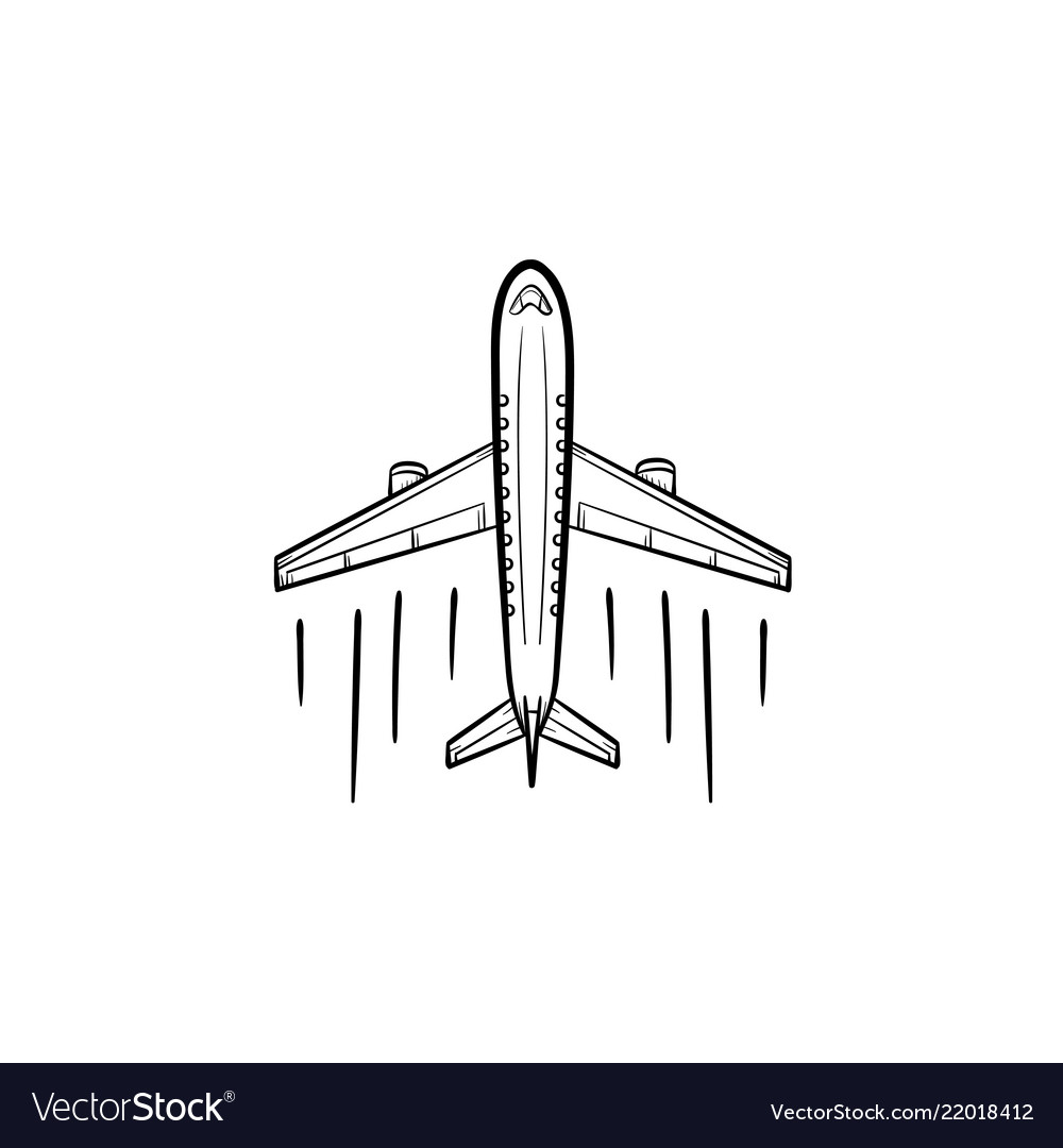 Airplane hand drawn outline doodle icon