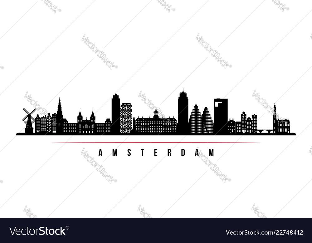 Amsterdam city skyline horizontal banner
