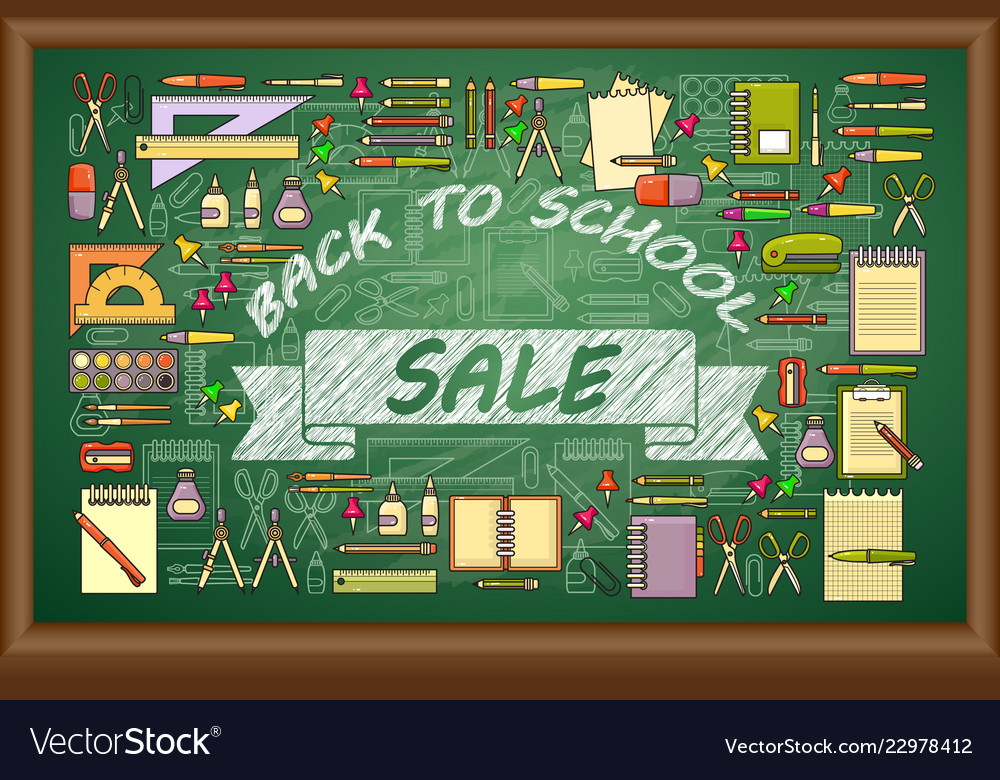 Back to school sale banner on green