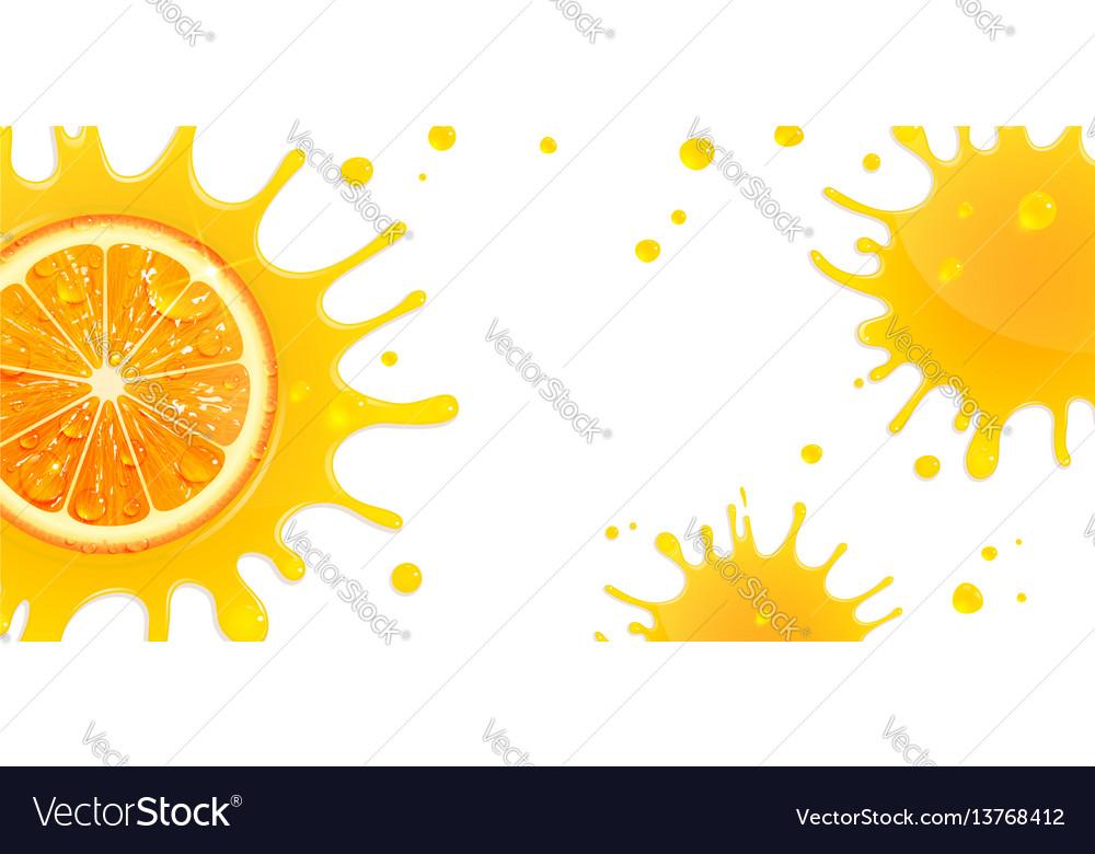 Banner with orange and splash juice
