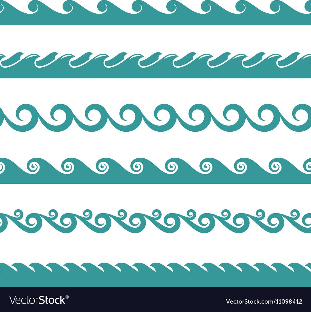 Blue ocean wave symbols isolated on white