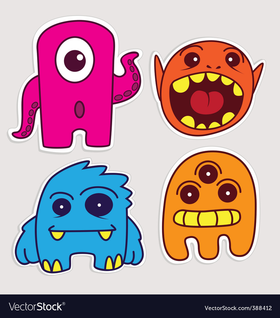 Cartoon monster stickers vector image