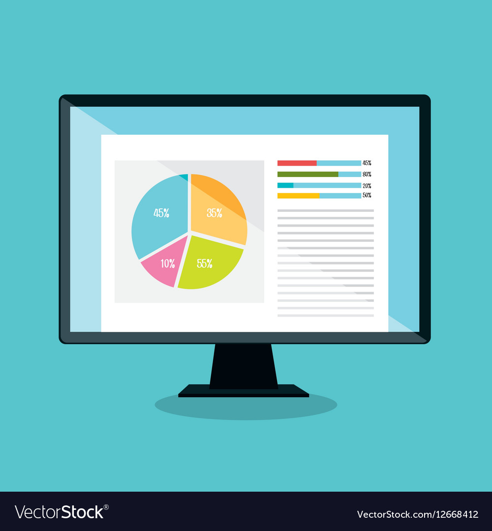 Computer desktop display isolated icon vector image