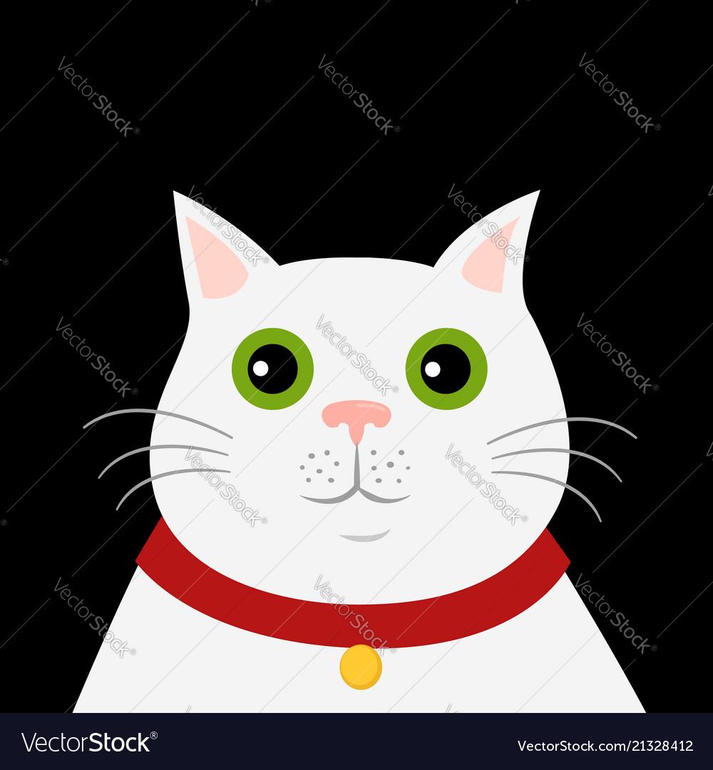 Cute cartoon white cat icon hello spring