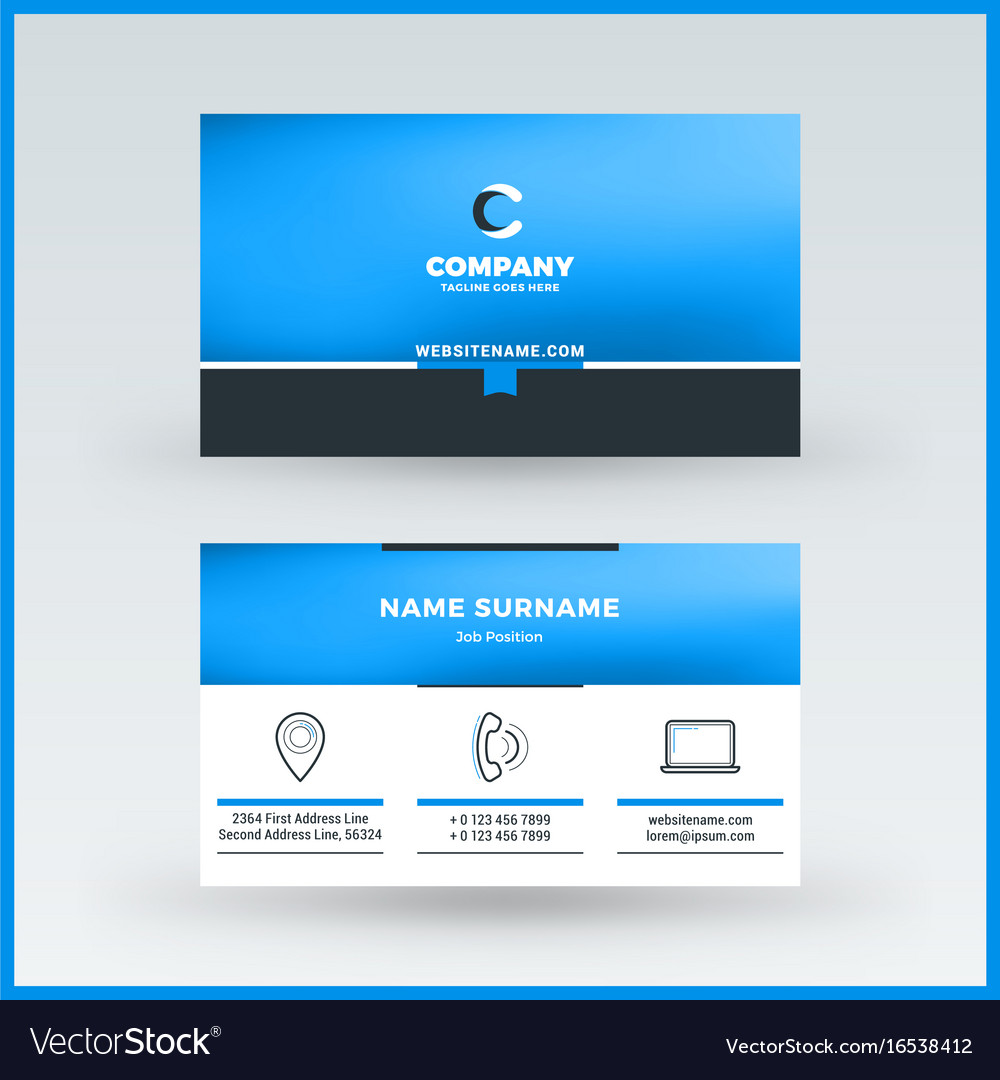 doublesided horizontal business card template vector image