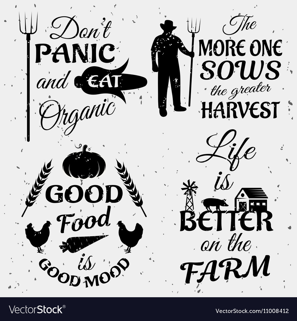 Farm Quotes | Farm Quotes Monochrome Set Royalty Free Vector Image