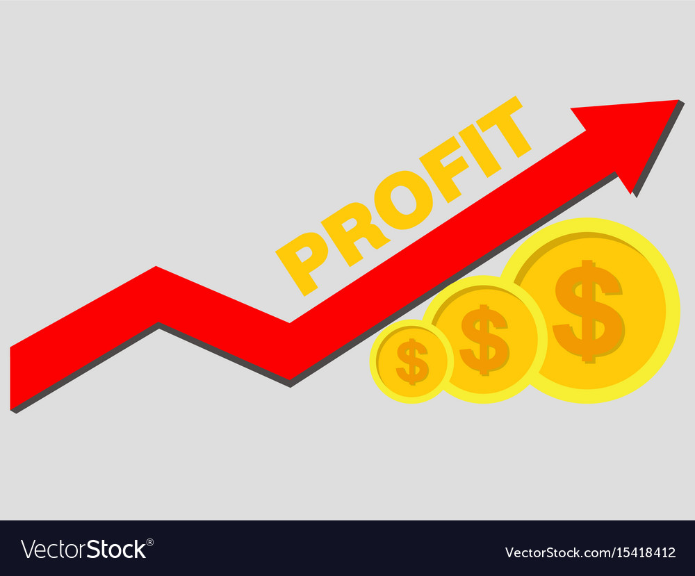 Gold coins and graph arrow up concept income and vector image