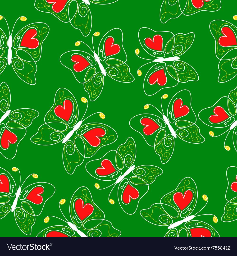 Heart butterfly pattern green