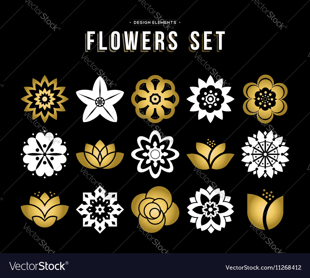 Set of gold color flower icons in flat style