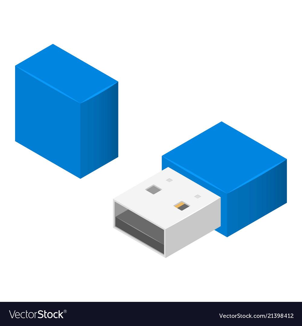 Small usb flash icon isometric style