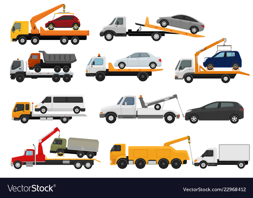 tow truck towing car trucking vehicle royalty free vector