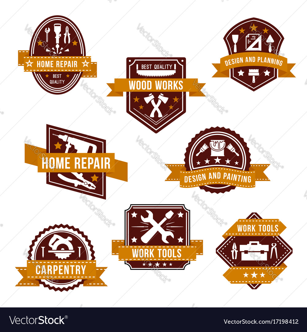 Work tools icons set for home repair design vector image