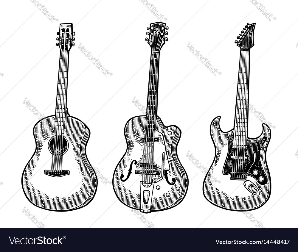 Acoustic and electric guitar vintage black vector image