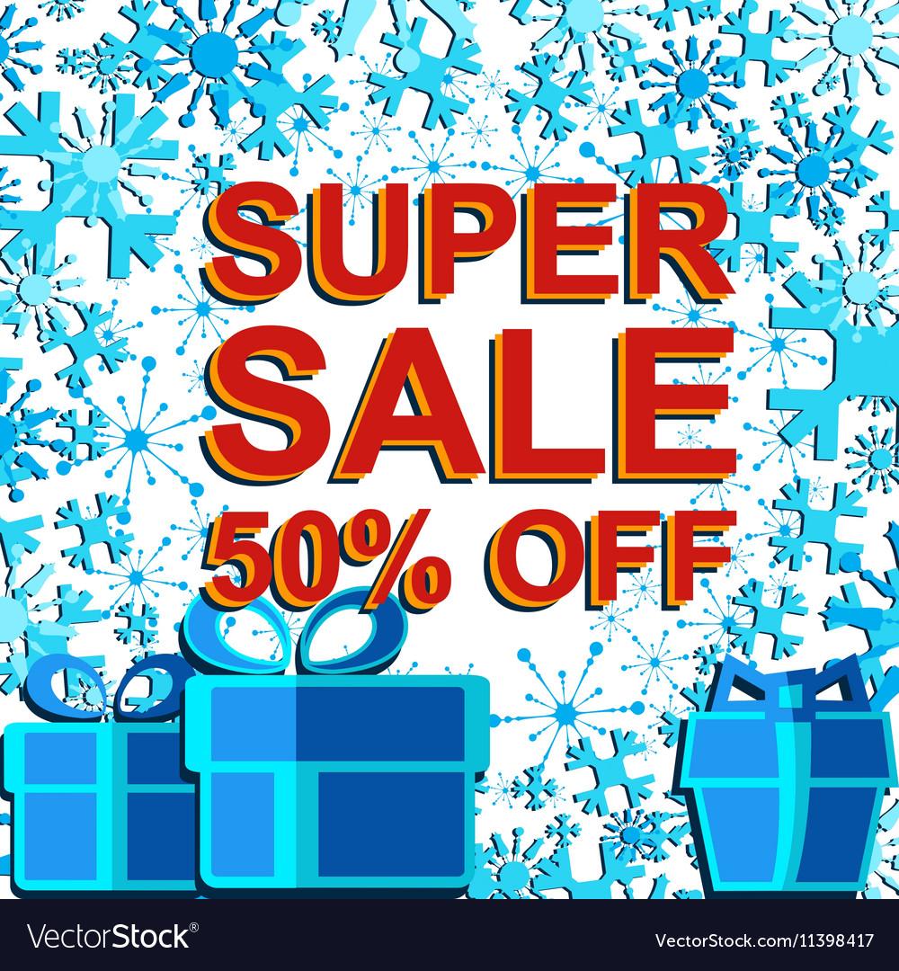 Big winter sale poster with SUPER SALE 30 PERCENT
