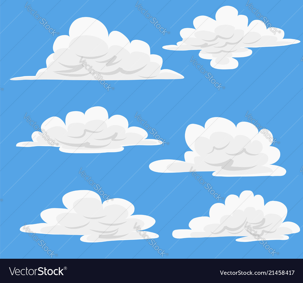 Cartoon clouds vector. In blue sky set