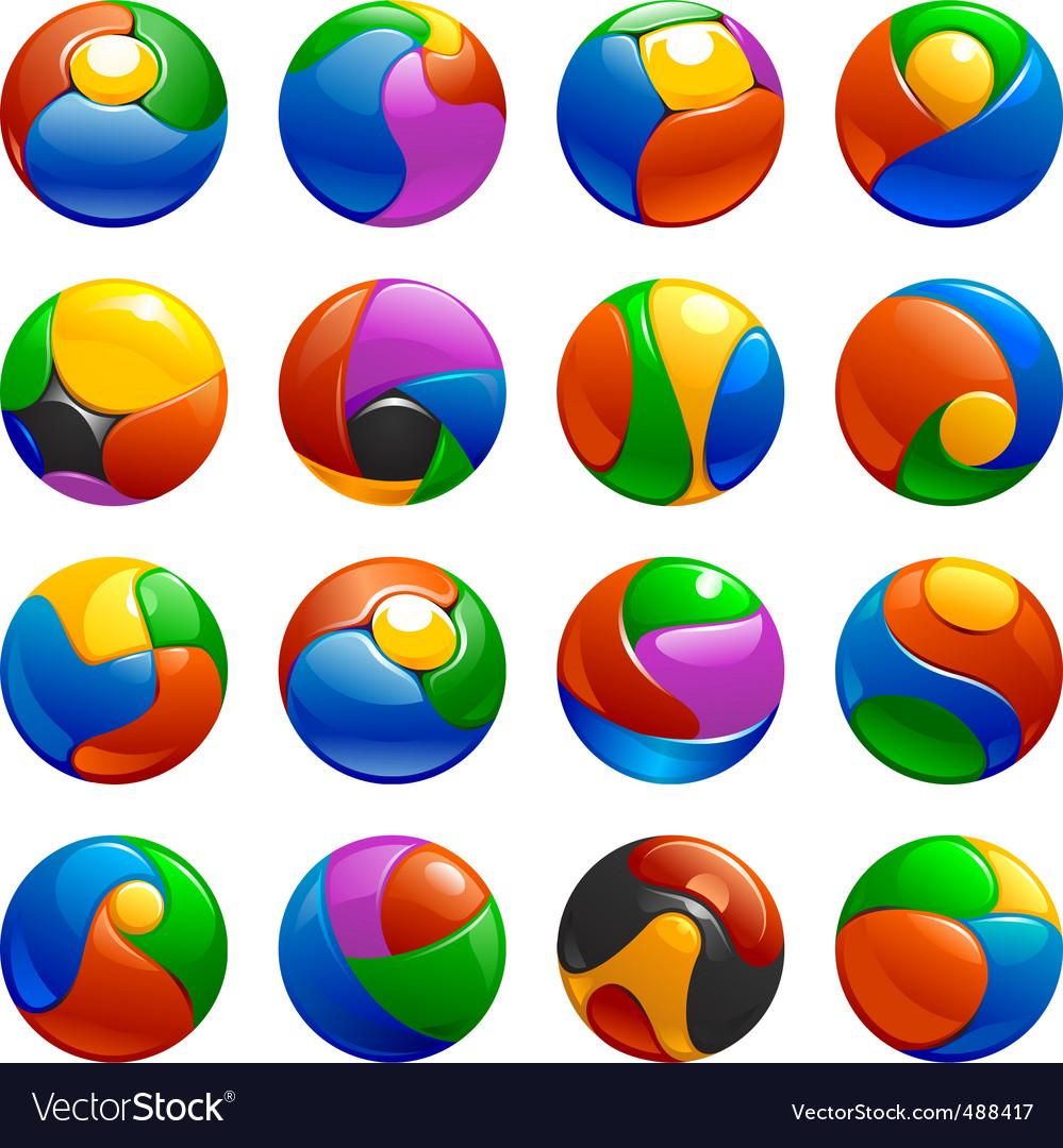 Chrome balls logo elements