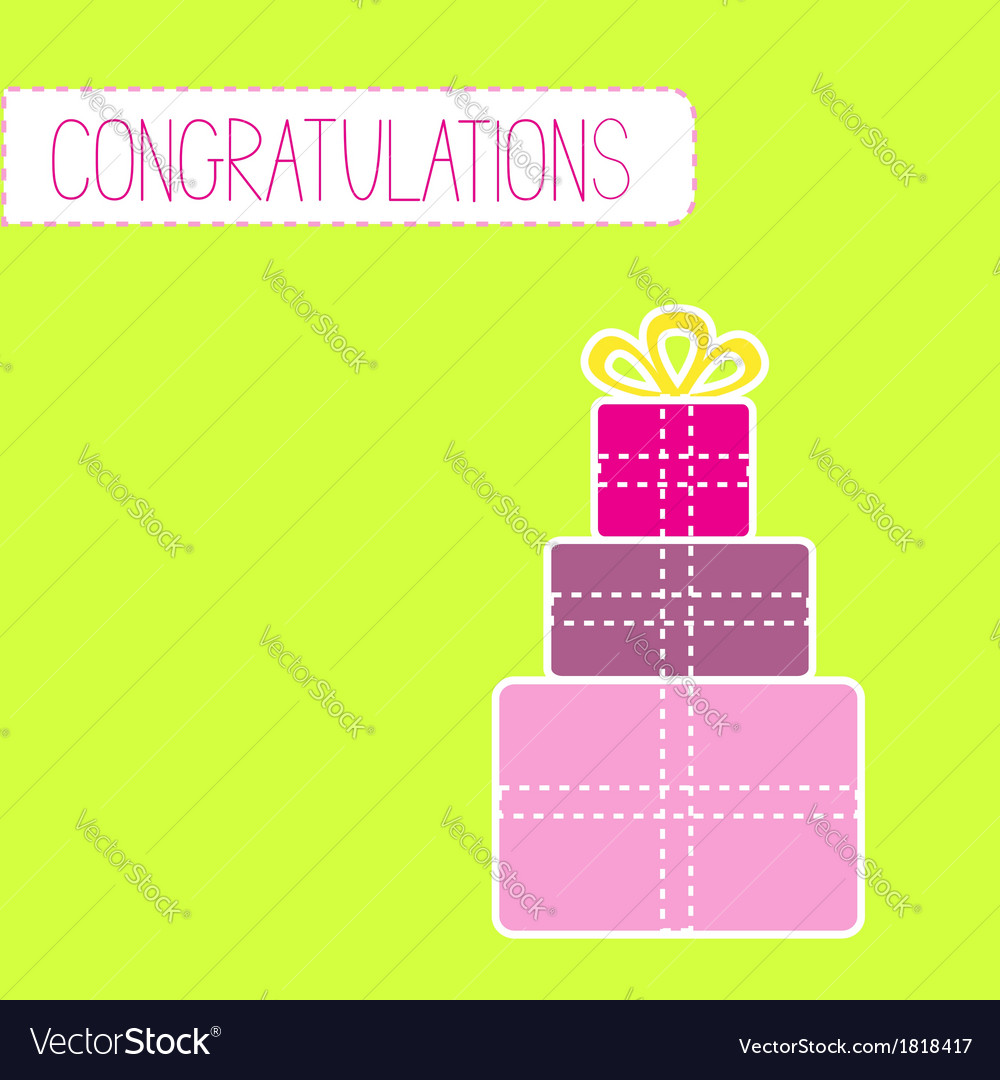 Congratulations card with gift boxes green