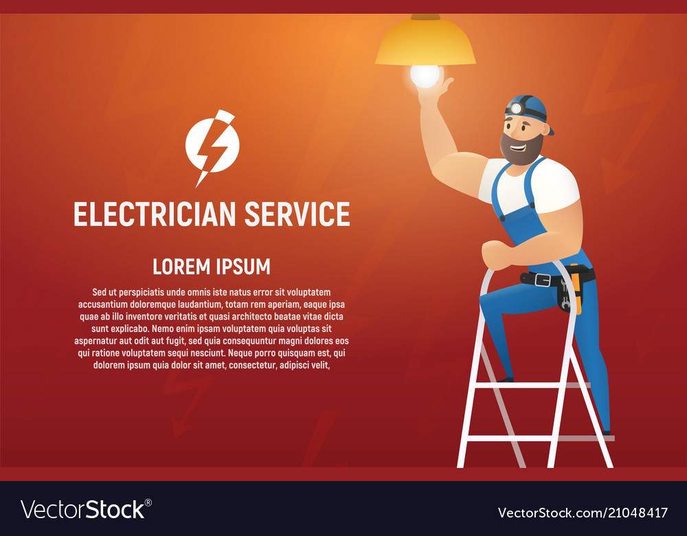Electrician service cartoon concept