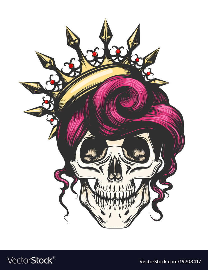 Female skull in crown