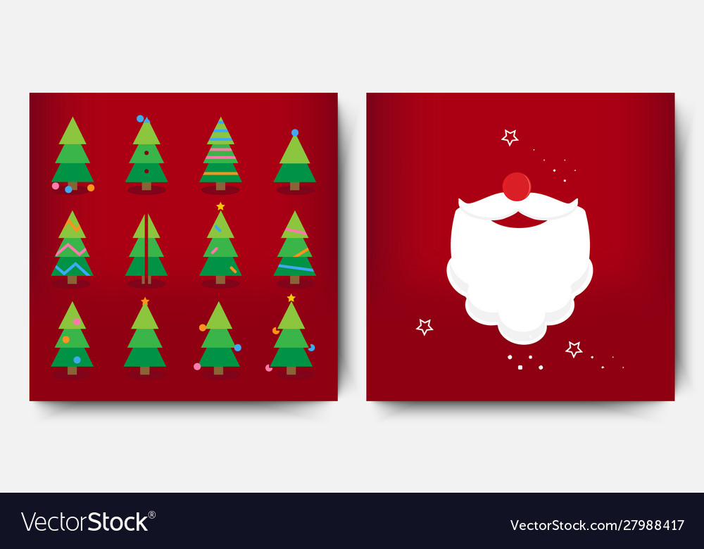 Merry christmas template set with holiday xmas