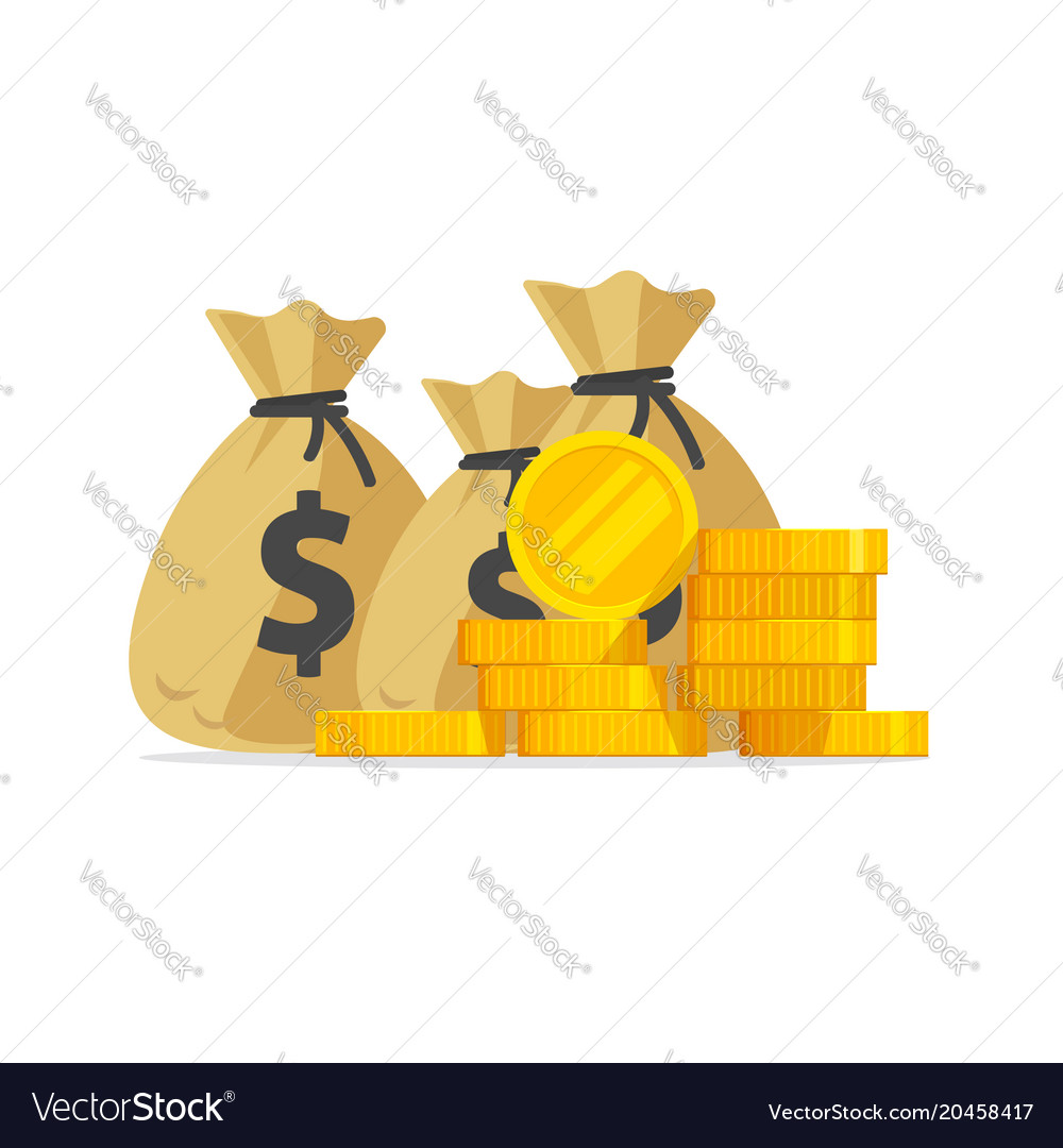 Money big pile or stack of gold coins and vector image