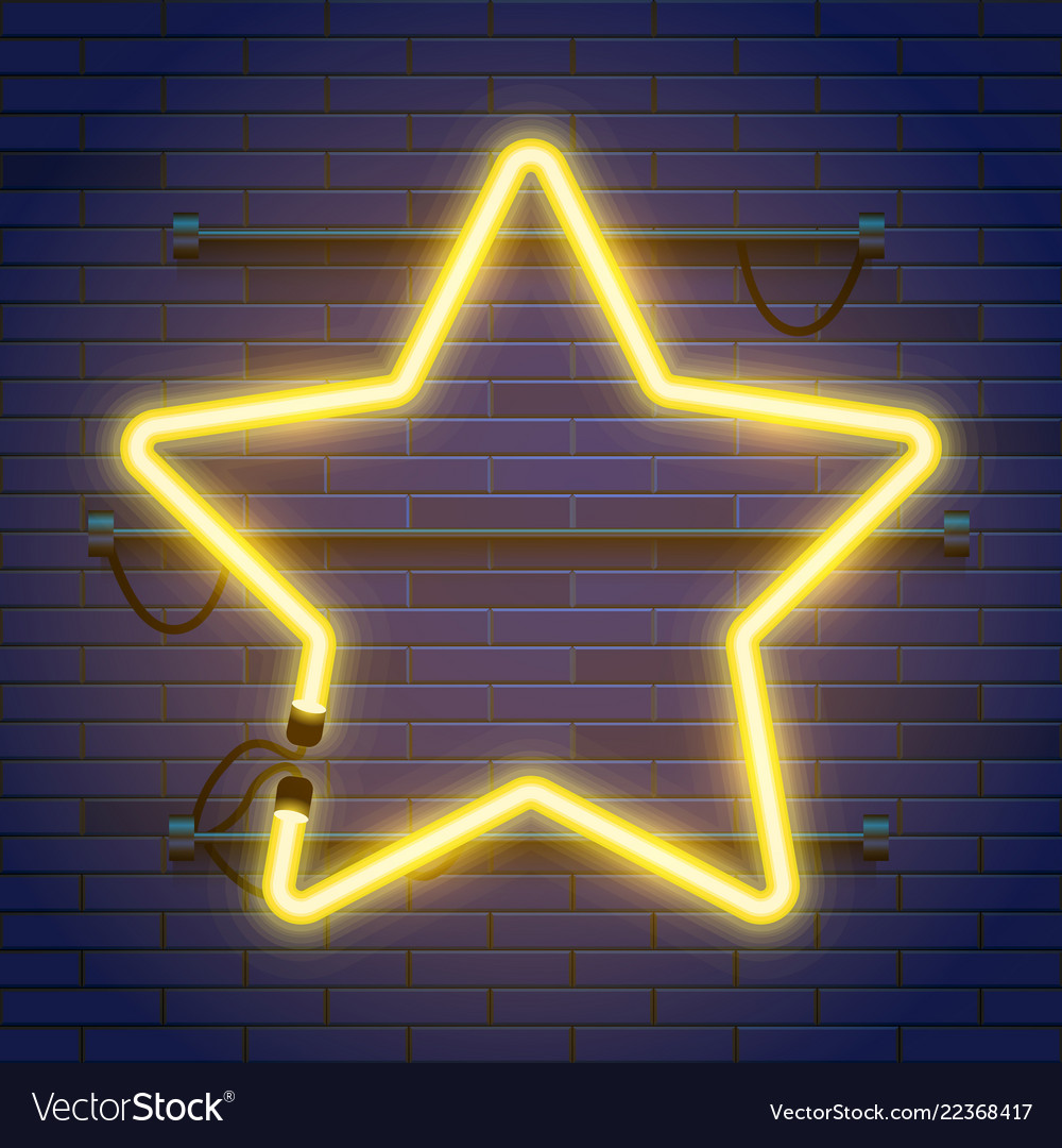 Neon lamp star frame on brick wall background