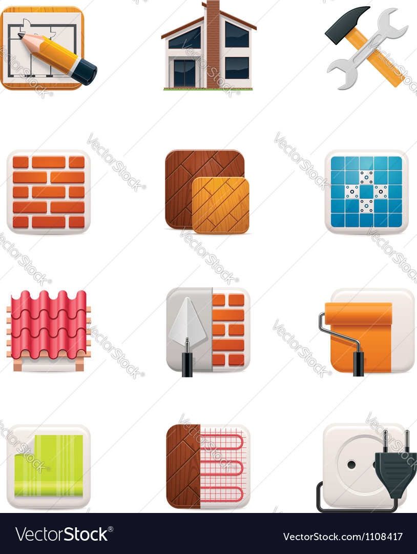 Part one of House renovation icon set vector image