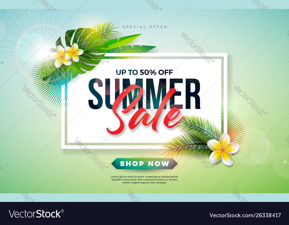 Summer sale design with flower and exotic palm