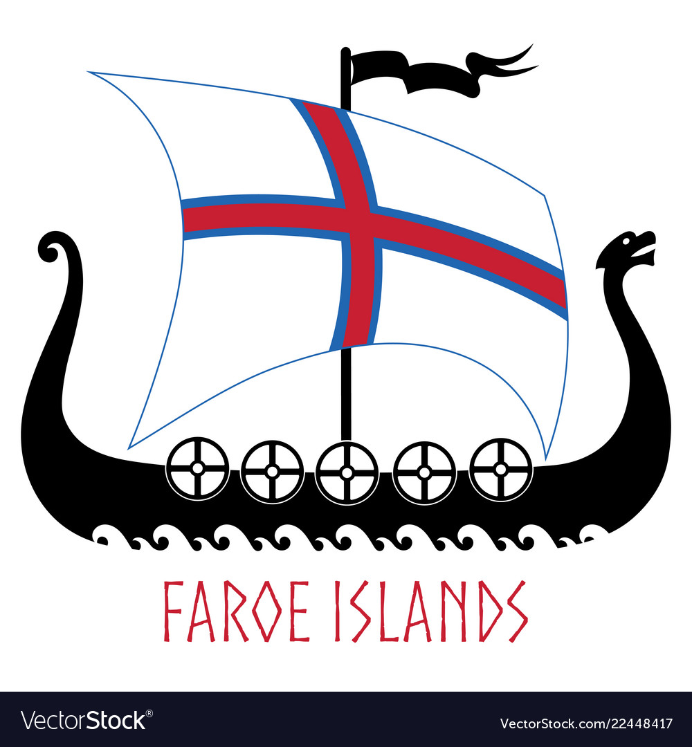 Warship of the vikings - drakkar and faroe islands