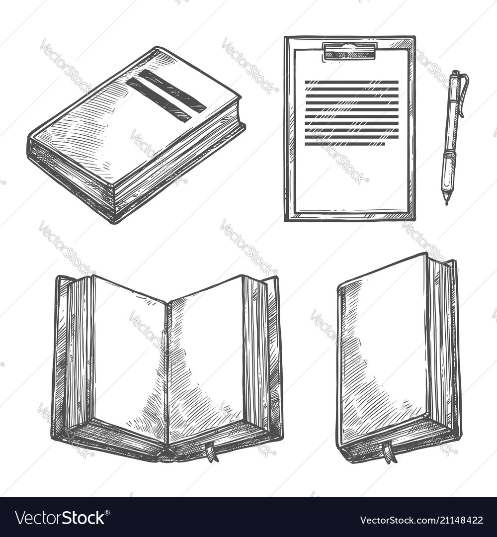 Book notebook pen and clipboard sketch design vector image