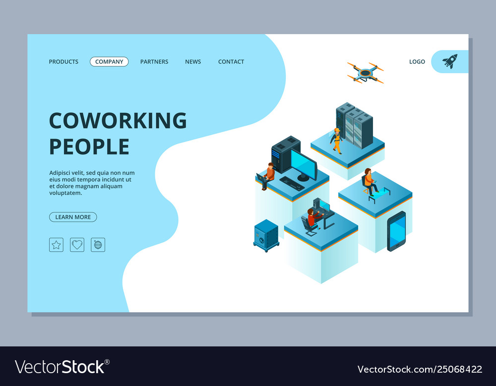 Coworking landing web page design template