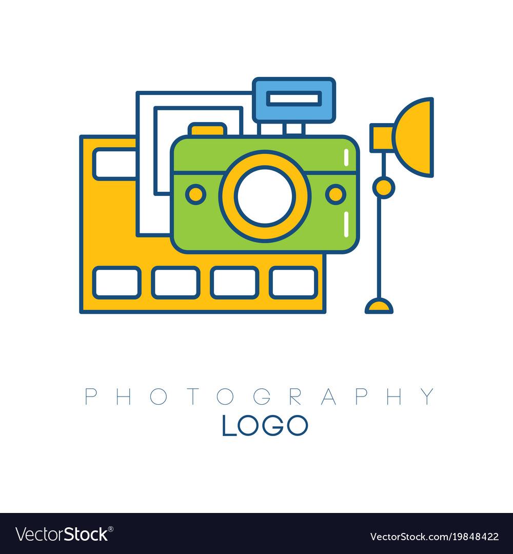 Creative logo template with camera film strip