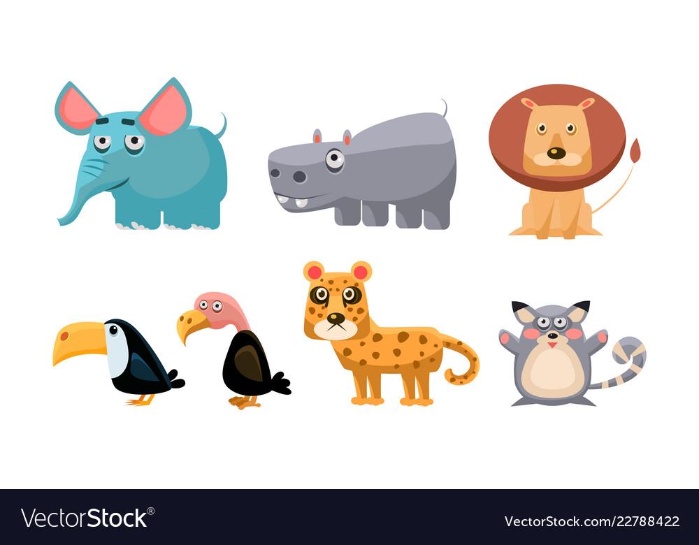 Cute wild african animals set lion hippopotamus