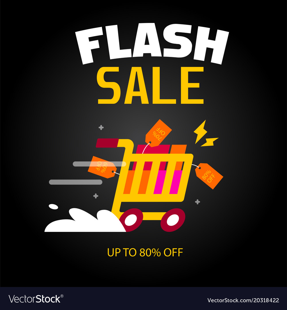 Flash Sale Cart Black Background Image Royalty Free Vector