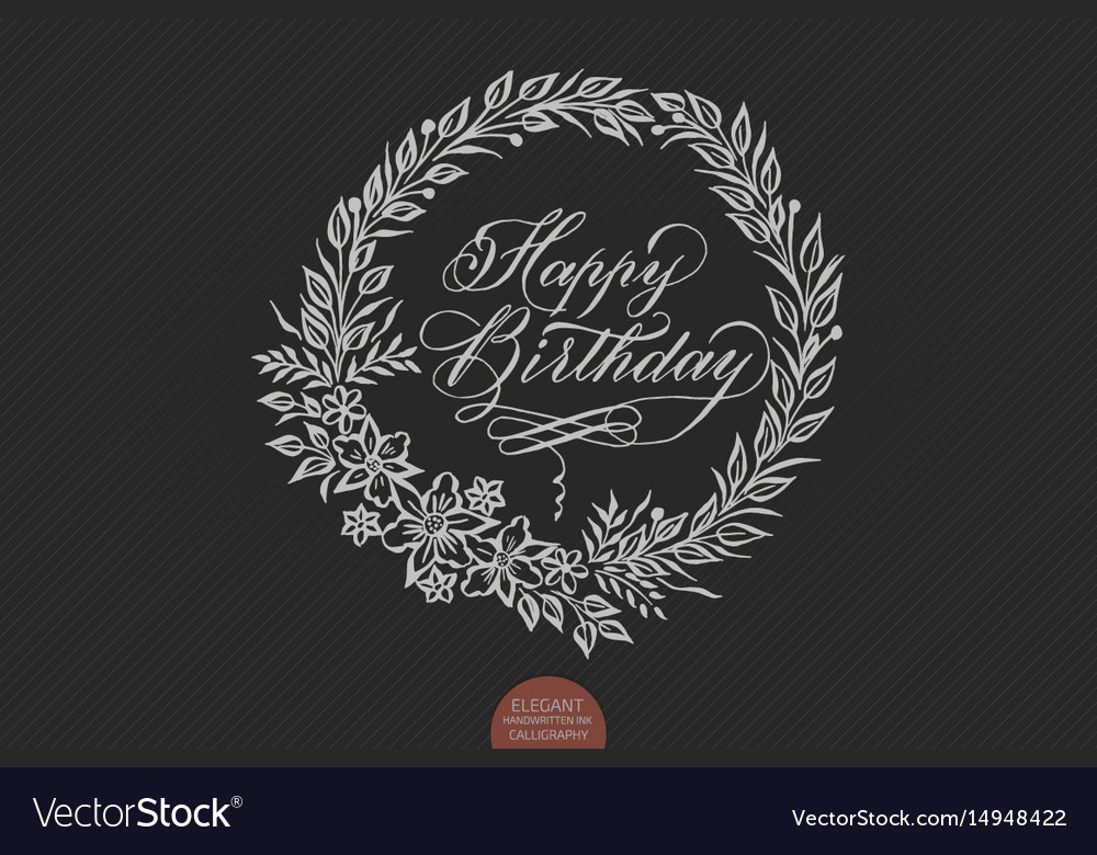 Happy Birthday Card With Floral Background Artwork Vector Image