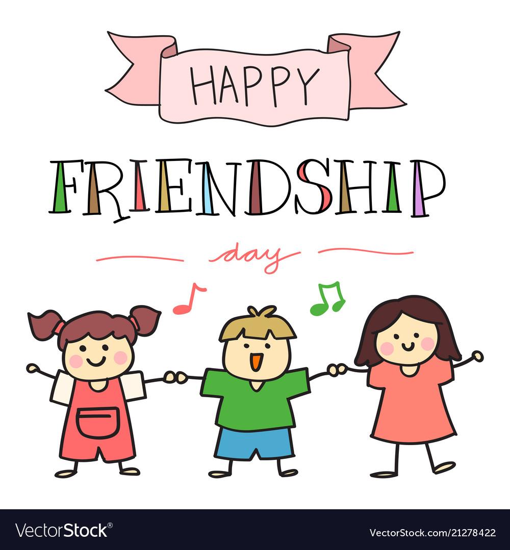 Happy friendship day with hand drawn children