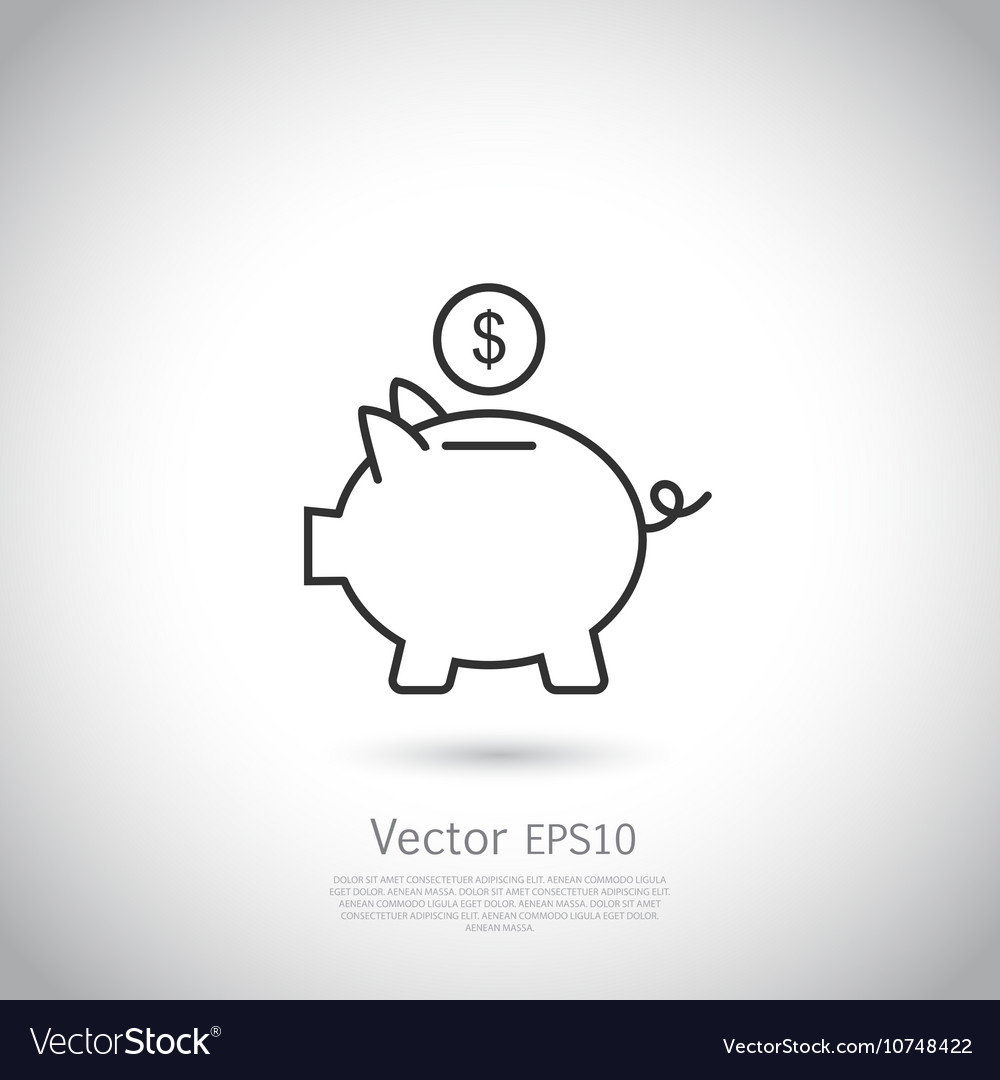 Piggy bank and dollar coin icon