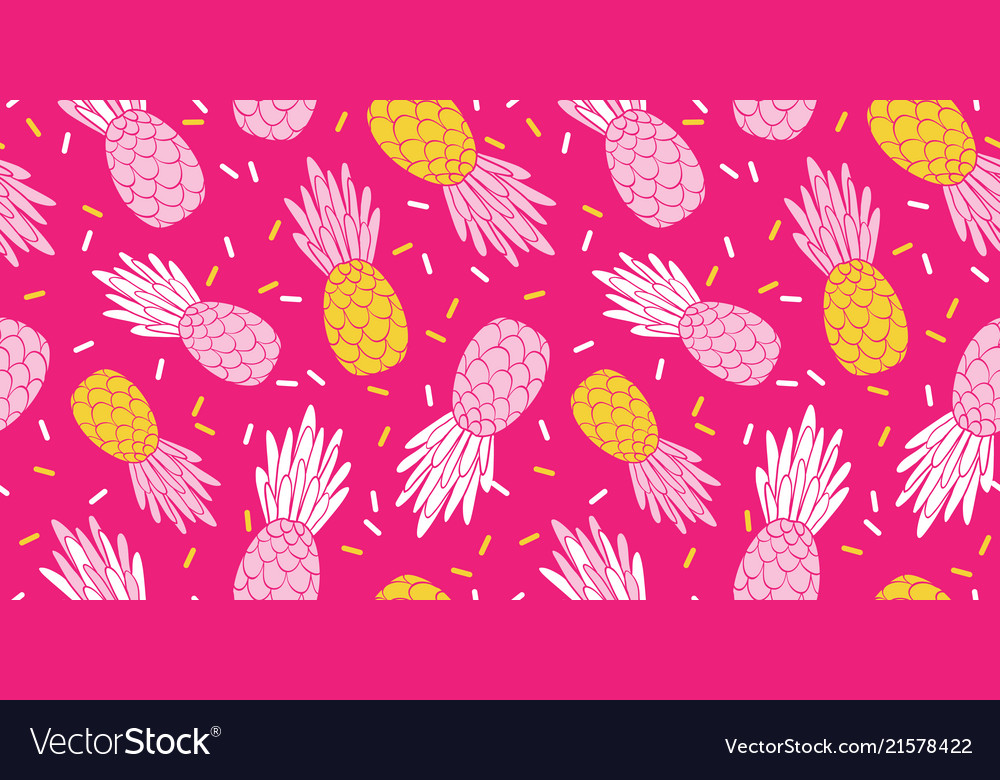 Pink yellow pineapples repeat pattern design