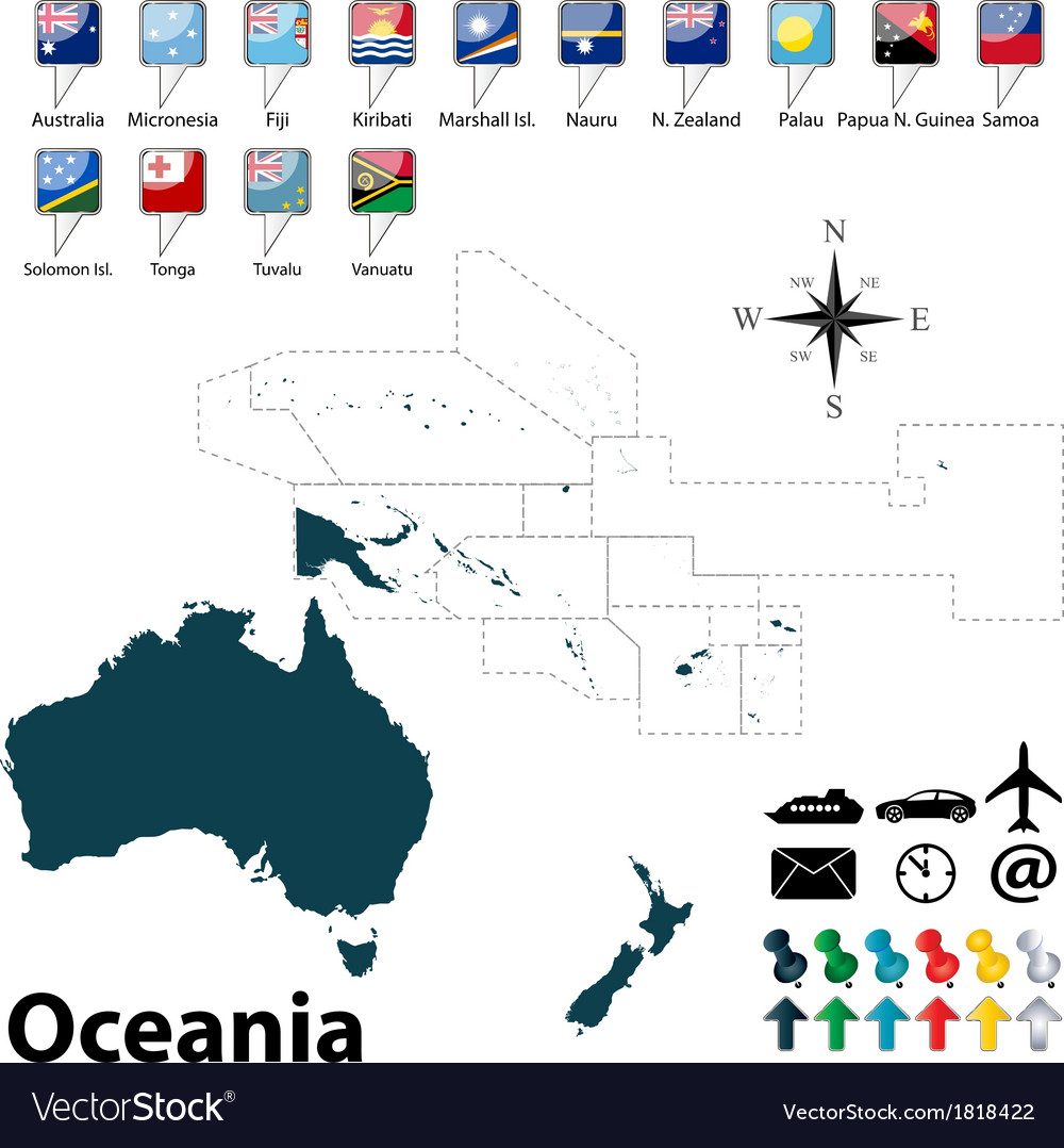Political map of Oceania Royalty Free Vector Image
