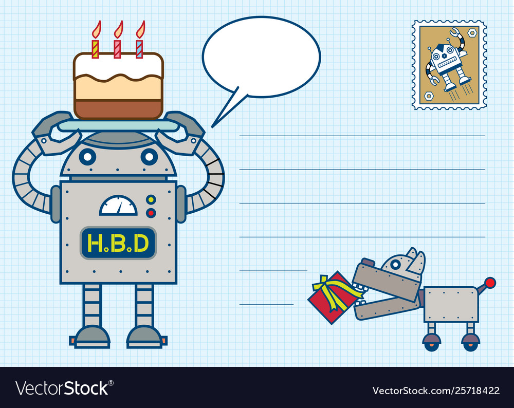 Robot happy birth day postcard