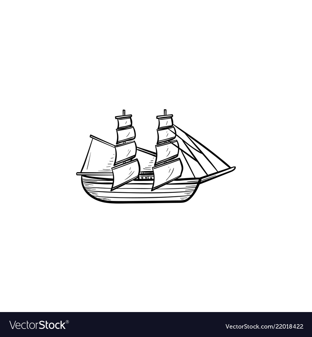 Sailing ship hand drawn outline doodle icon