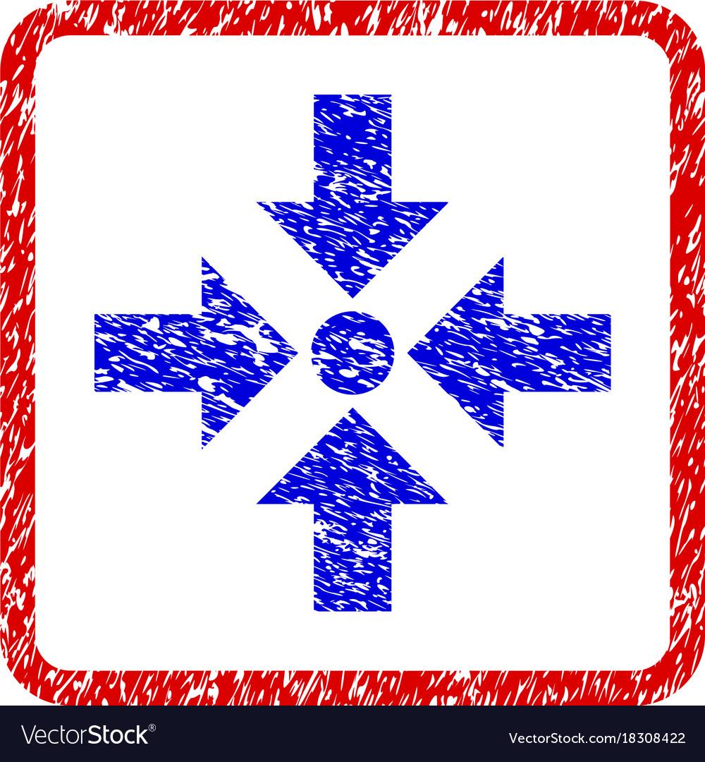Shrink arrows grunge framed icon vector image