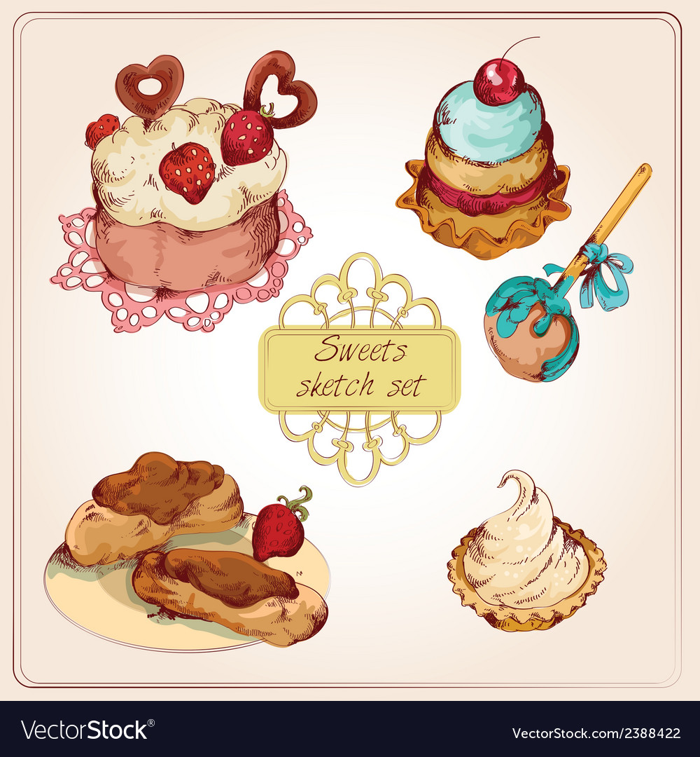 Sweets colored set vector image