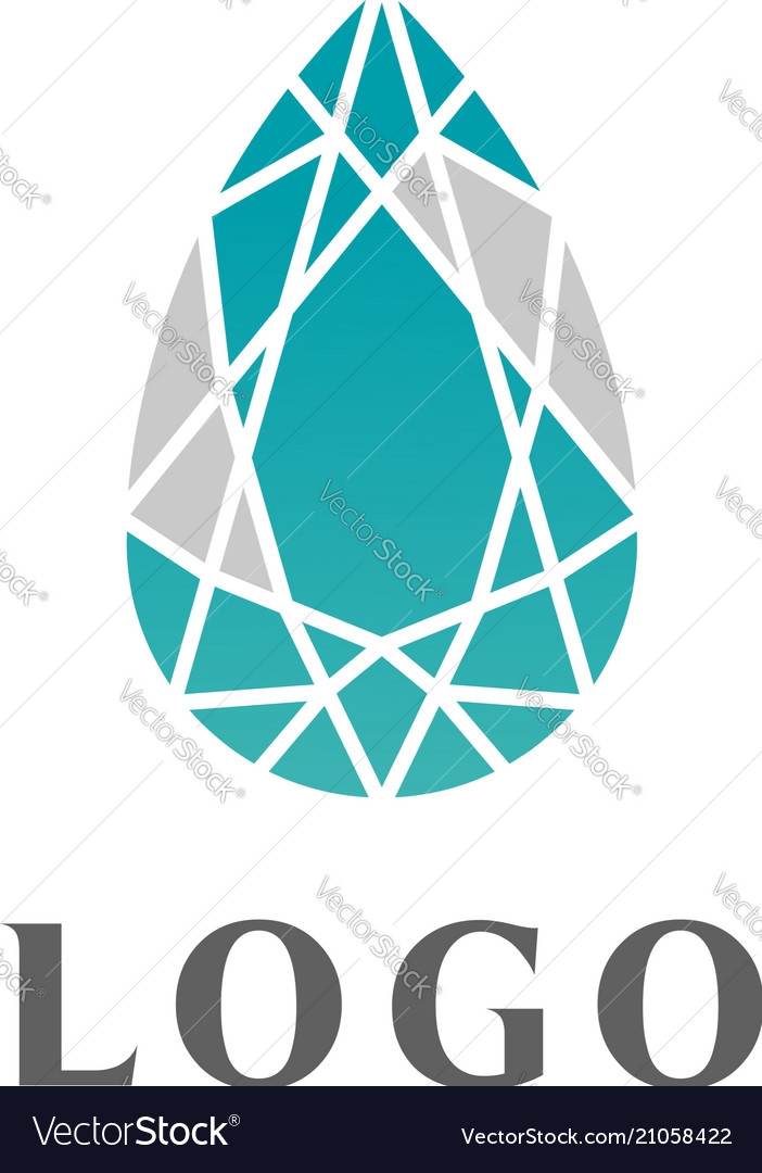 Trendy flat design crystal line logo