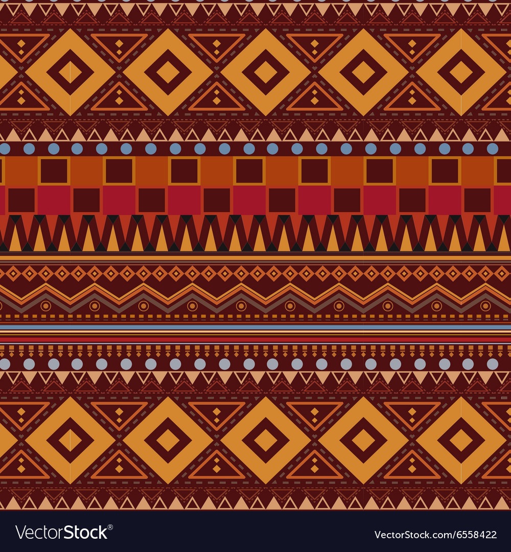 Tribal ethnic seamless pattern on brown background