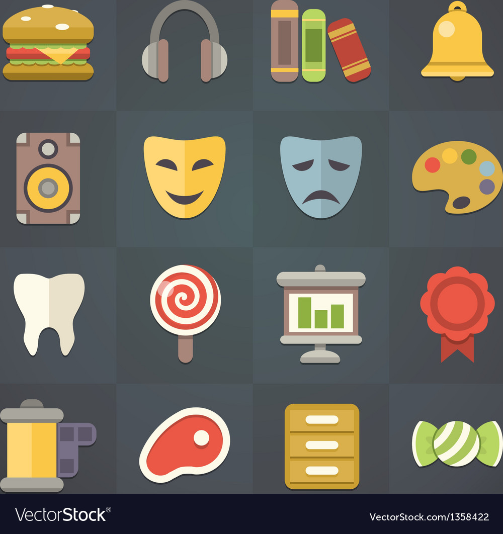 Universal Flat Icons for Applications Set 10 vector image