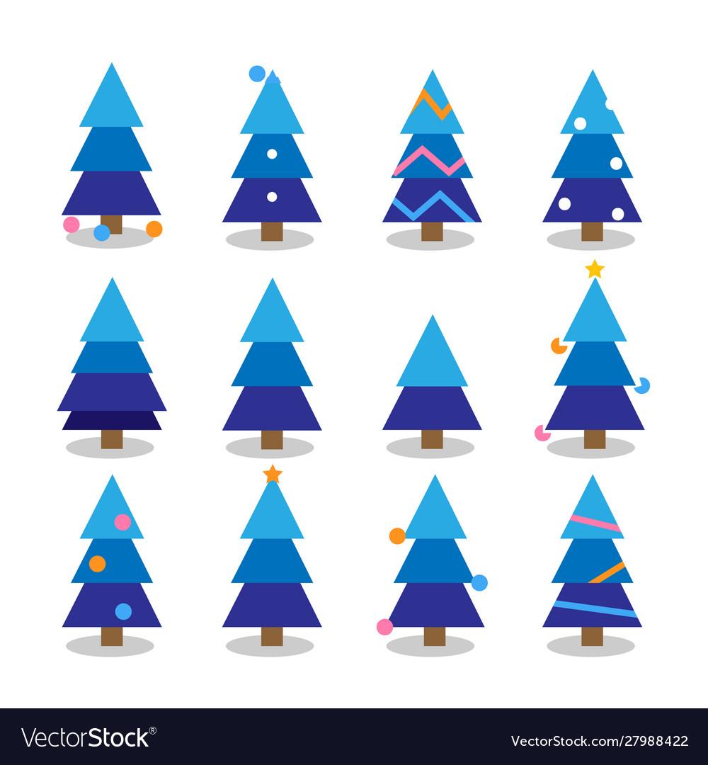Winter colorful cartoon christmas tree set