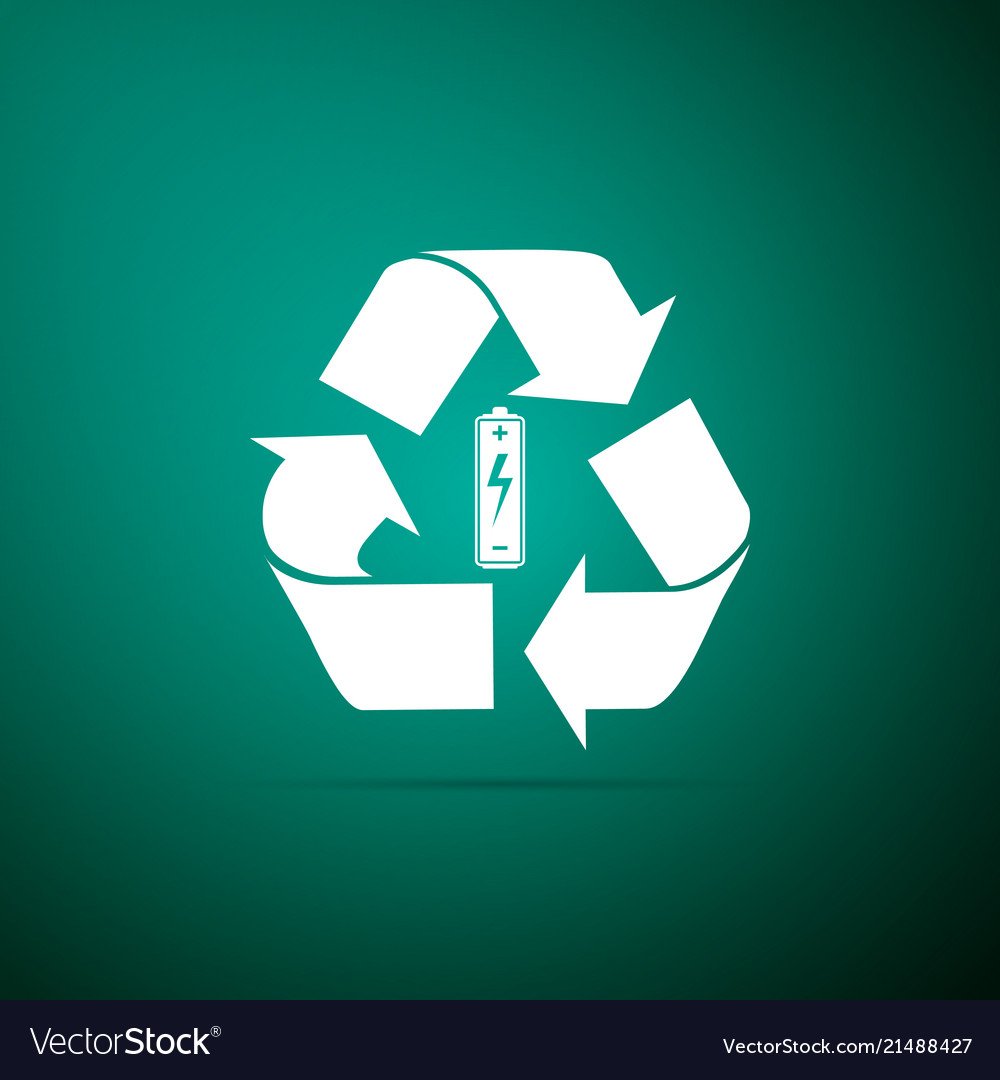 Battery with recycle symbol renewable energy icon