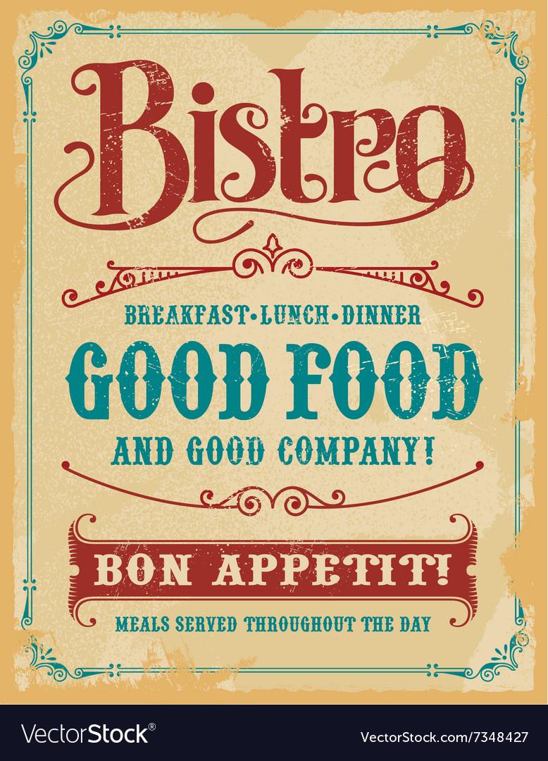 Bistro vintage poster sign