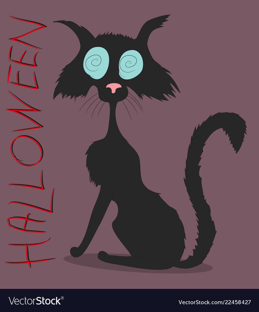 Black cat on halloween drawing